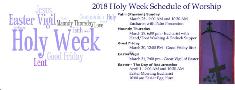 Holy Week 2018- with schedule